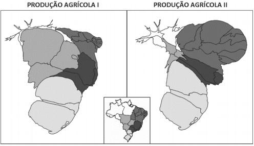 Mapas de anamorfose sobre a produção agrícola no Brasil