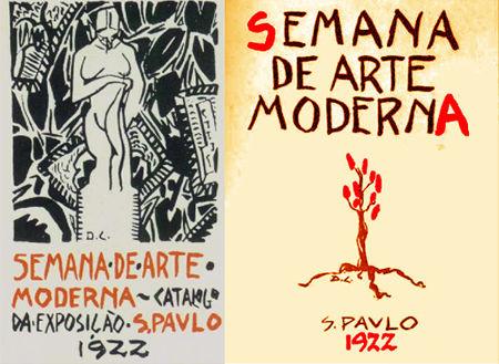 À esquerda, capa do catálogo da exposição da Semana de 1922. À direita, cartaz criado por Di Cavalcanti