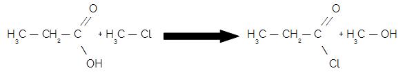Equação da formação de um cloreto de ácido a partir de um ácido carboxílico e haleto orgânico