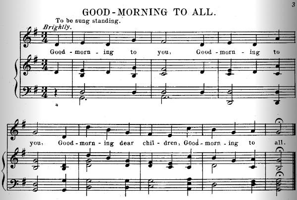 Página com Good Morning To All na coleção Song Stories for the Kindergarten