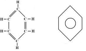 Fórmula estrutural do benzeno e fórmula estrutural simplificada