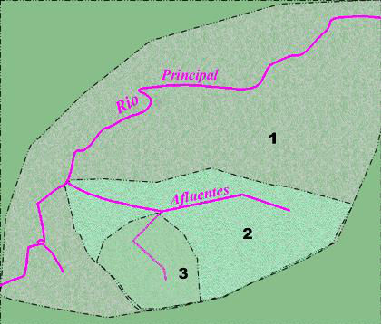Representação gráfica de uma rede hidrográfica hipotética