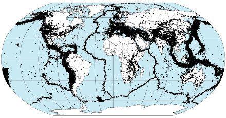 Zonas sísmicas da Terra. Note a semelhança com o mapa acima