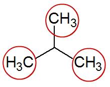 Fórmula estrutural de uma cadeia aberta ramificada