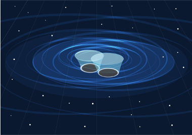 Os dois elementos no centro simbolizam os buracos negros colidindo-se. As linhas circulares são as ondas gravitacionais geradas