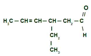 Fórmula estrutural do 3-etil-hex-4-enal