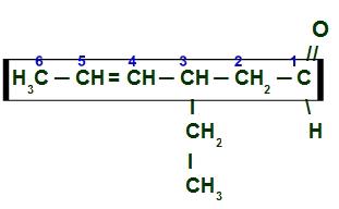 Numeração da cadeia principal do 3-etil-hex-4-enal