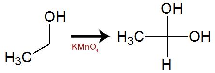Equação de formação de álcool gemino com dois OH a partir do etanol