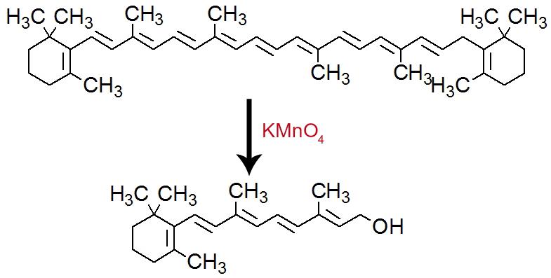 Equação de formação da vitamina A por meio da oxidação do betacaroteno