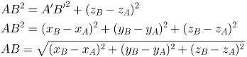 Cálculo da distância entre dois pontos no espaço