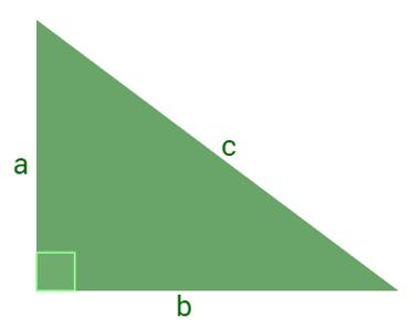 Triângulo retângulo de catetos a e b e hipotenusa c