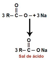 Representação da formação do sal de ácido carboxílico