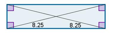 Medidas das diagonais do retângulo