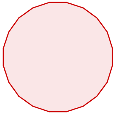 Essa figura é um icoságono (20 lados). Note a semelhança com a circunferência