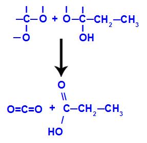 Formação das carbonilas nos fragmentos do but-1-ino