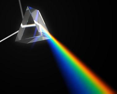 Ao passar por um prisma, a luz branca espalha-se, revelando as cores que a compõem