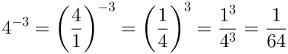 Potência de expoente negativo, cálculo 1