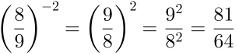 Potência de expoente negativo, cálculo 2