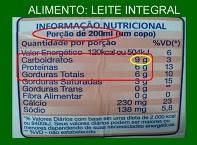 Rótulo com a concentração de nutrientes