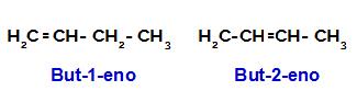 Fórmulas estruturais possíveis para o buteno