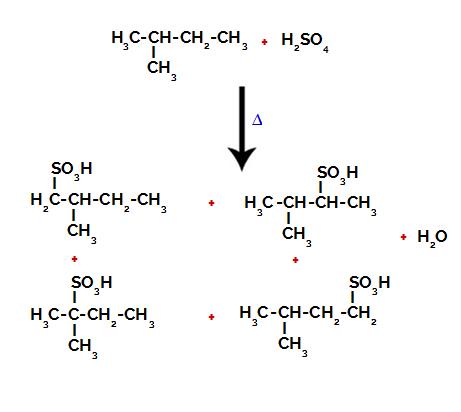 Produtos formados a partir da sulfonação do 2-metil-butano