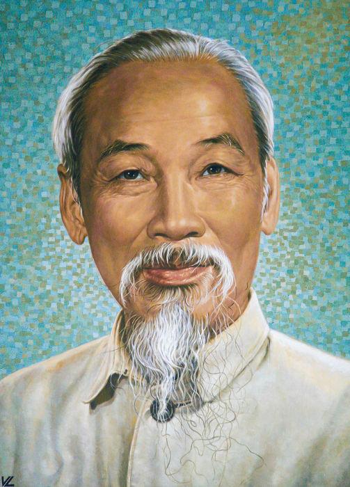 Ho Chi Minh, líder do Vietminh durante a Guerra da Indochina **