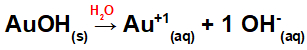 Equação da dissociação da base com ouro em meio aquoso