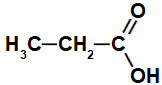 Fórmula estrutural geral de um ácido propanoico