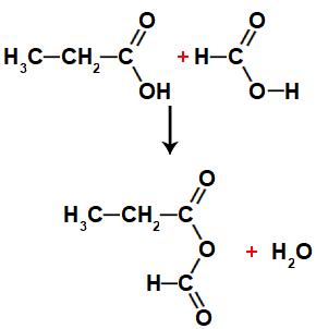 Equação representando a formação de um anidrido metanoico