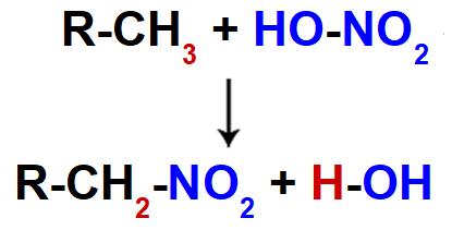 Equação representando a nitração de um alcano qualquer
