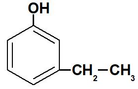 Fórmula estrutural de um fenol com ramificações