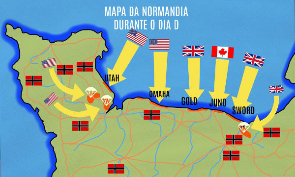 No mapa, podemos identificar as cinco praias designadas para o desembarque das tropas dos Aliados.