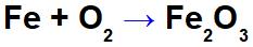 Equação da oxidação do ferro.