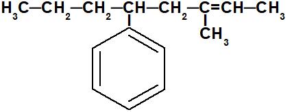 Fórmula estrutural de um alceno com duas ramificações.