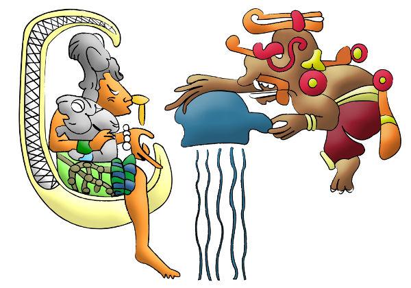 Representação moderna de Ix Chel e Chac, dois deuses maias.