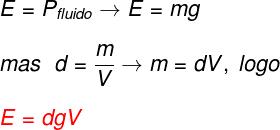 O empuxo exercido depende do volume (V) de fluido deslocado pela inserção de um corpo, da densidade do fluido e da gravidade local.