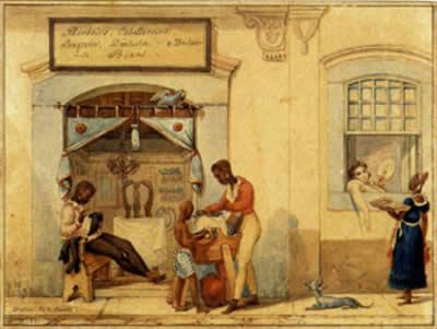 Loja de Barbeiros, de Jean-Baptiste Debret (1768-1848)
