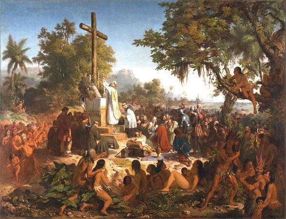 Quadro de Victor Meirelles retrata a primeira missa realizada no Brasil em 26 de abril de 1500.*