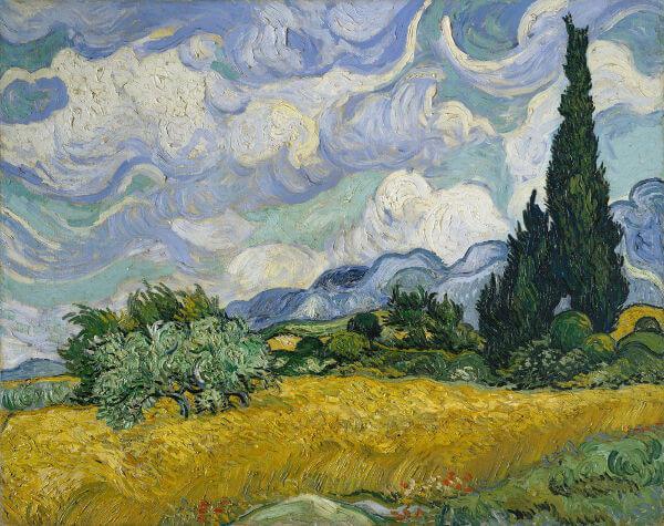 Campo de Trigo com Cipestres, obra de arte de Vincent van Gogh. Ele é um dos pintores mais conhecidos da história da humanidade.
