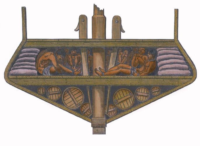 Representação dos porões que abrigavam os africanos escravizados nos navios negreiros.
