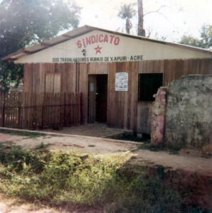 Sindicato dos Trabalhadores Rurais de Xapuri foi fundado por Chico Mendes. (Crédito: Memorial Chico Mendes)
