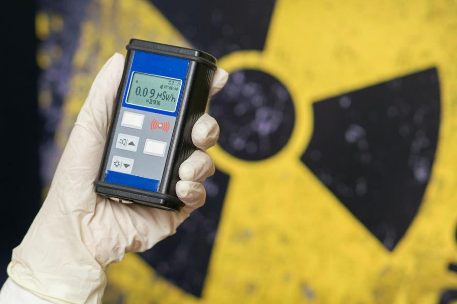 Os raios gama podem ser medidos por dispositivos como o apresentado na foto.