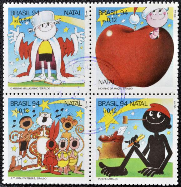 Selos impressos no Brasil em homenagem a Ziraldo, grande cartunista brasileiro.**