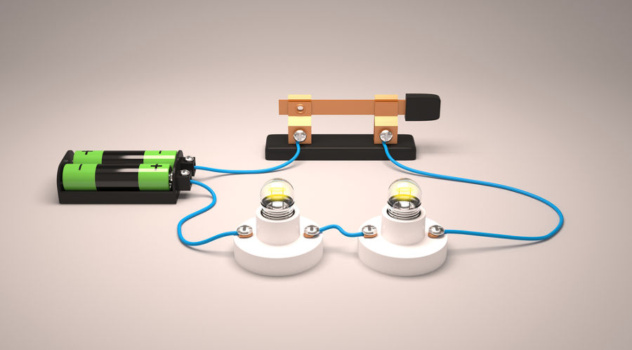 Na figura temos dois geradores associados em série ligados a duas lâmpadas, também conectadas em série.