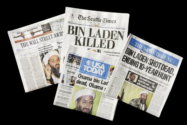 A morte de Osama bin Laden, em 2 de maio de 2011, foi estampada nos principais jornais dos EUA e do mundo.***