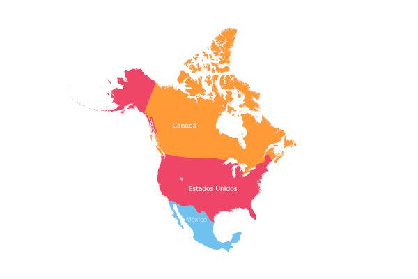 América do Norte é formada por três países e localiza-se na parte setentrional do continente americano.