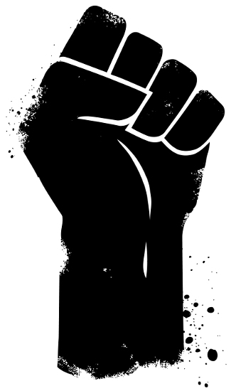 Imagem de punho fechado e levantado, um dos símbolos do grande Movimento Black Power.
