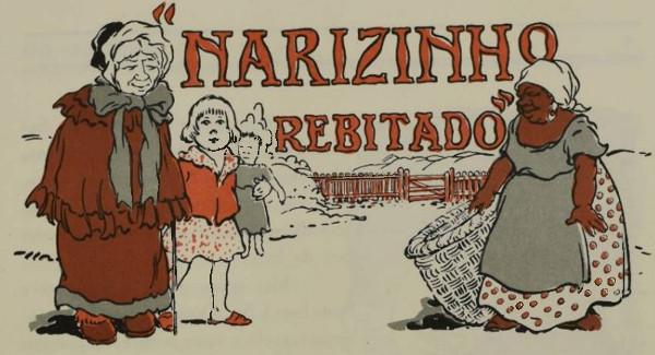 Ilustração de Dona Benta, Narizinho e Tia Nastácia.
