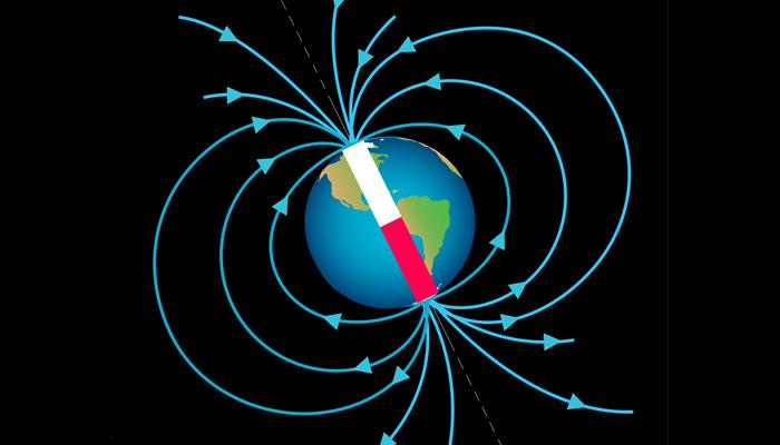 A figura mostra as linhas do campo magnético terrestre que emergem do norte magnético.