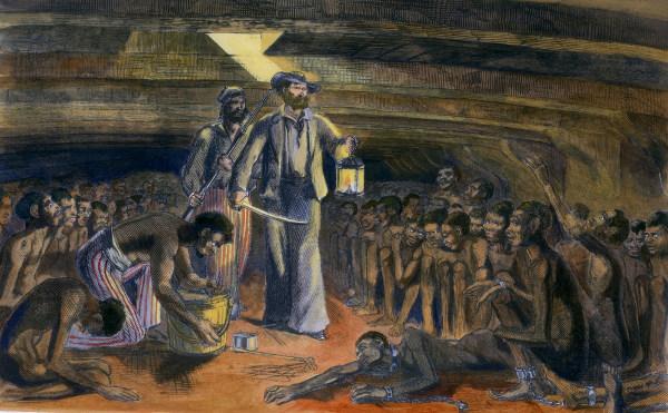 Interior de um navio negreiro, onde os escravos sequestrados ficavam confinados nos porões.